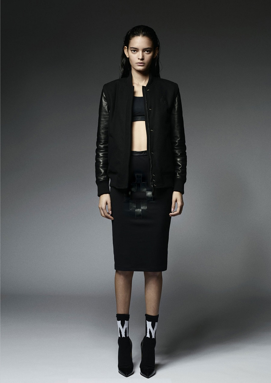 Marcelo-Burlon-County-Of-Milan-Fall-Winter-2014-2015-Womenswear-bomber-jacket-leather-cruz-skirt