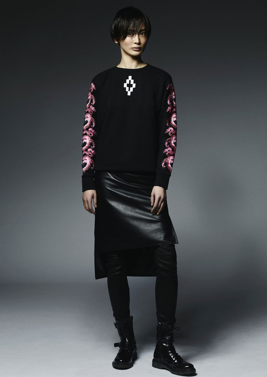 Marcelo-Burlon-County-Of-Milan-Fall-Winter-2014-2015-Womenswear-cora-crew-leather-pannell-skirt