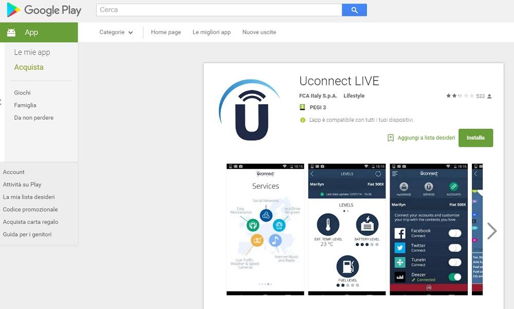 Scarica l'app Uconnect LIVE e vive al massimo la tua auto!