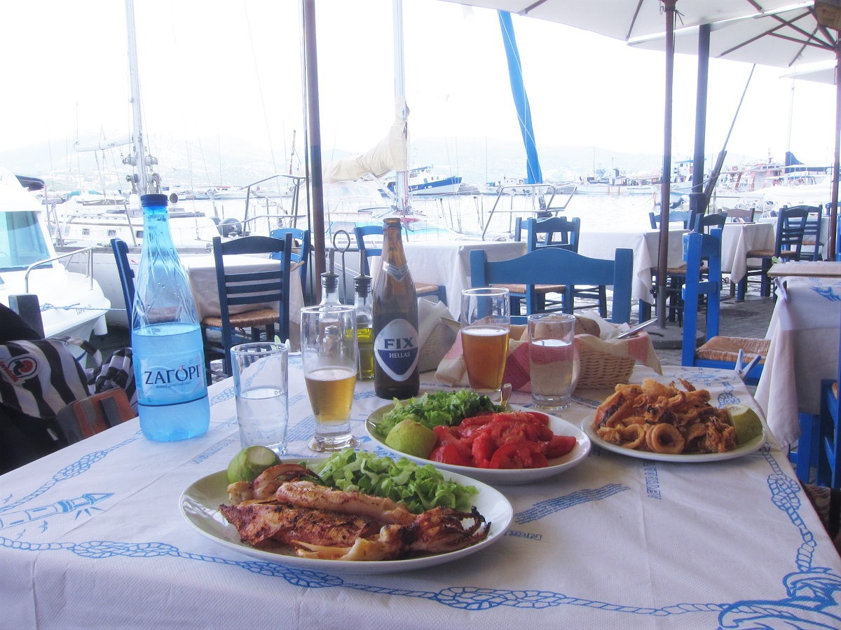 Lunch in Lefkada Ligia port